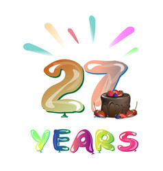 27 years anniversary celebration design with cake vector image
