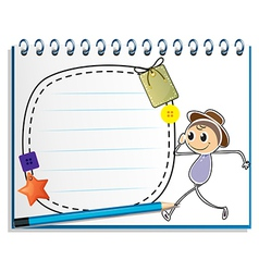 A notebook with a drawing of a boy walking with an vector image