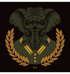 An elephant framed by laurel branches in sailor vector image