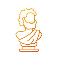 Ancient statue gradient linear icon vector