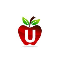 apple letter u logo design template vector image