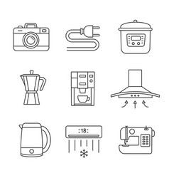appliance linear icons set vector image