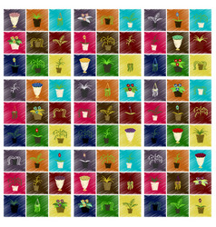 Assembly flat shading style icons houseplants vector