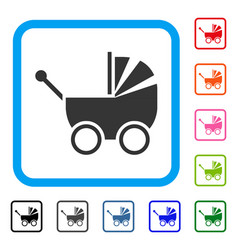 baby carriage framed icon vector image