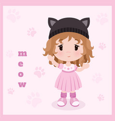 background cute little bagirl in dress vector image