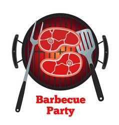 barbecue grill fried meat pork spatula and fork vector image