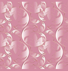baroque 3d pink seamless pattern vector image