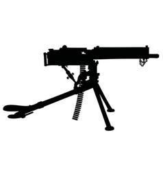 Black silhouette a vintage machinegun vector