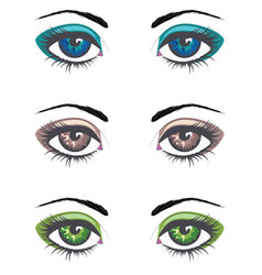 Cartoon female eyes set vector