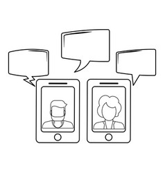 Chats on smartphone in black and white vector