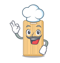 Chef wooden cutting board character cartoon vector