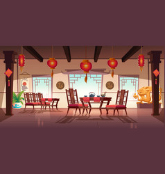 Chinese cafe interior with lanterns and dragons vector