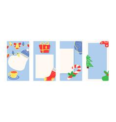 Christmas social media story template set vector