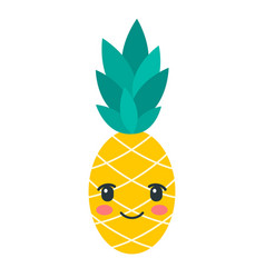 color kawaii pineapple icon isolated on white vector image
