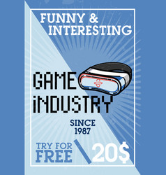 Color vintage game industry banner vector