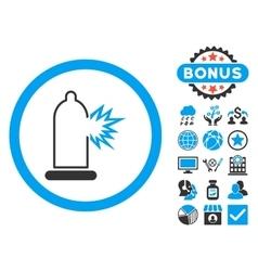 Condom Damage Flat Icon with Bonus vector image
