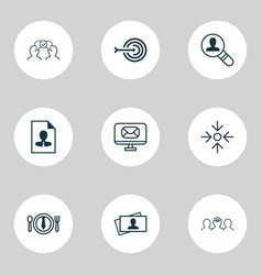 corporate icons set with business lunch vector image