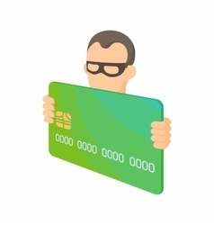 Credit card thief icon cartoon style vector