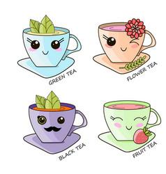 cute kawaii hot tea cup teabag vector image