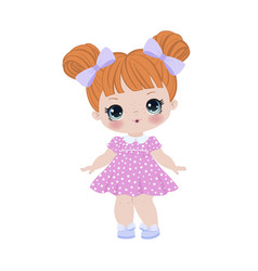 Cute little girl cartoon vector