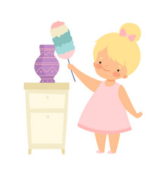 Cute little girl with duster cleaning vase vector