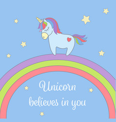 Cute unicorn and rainbow with stars greeting card vector