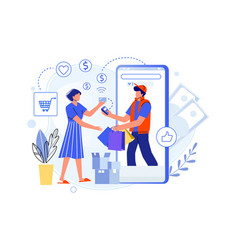 delivery purchases from shop and pay credit card vector image