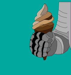 drawing of a knights hand in armor of gray shades vector image