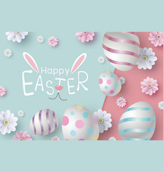 easter card design of eggs and flowers vector image