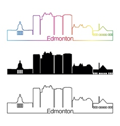Edmonton V2 skyline linear style with rainbow vector