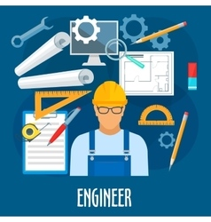 Engineer or builder worker with work tools poster vector image