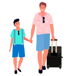 father and son go on vacation family trip vector image