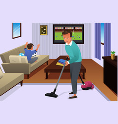 Father vacuuming the carpet in the house vector