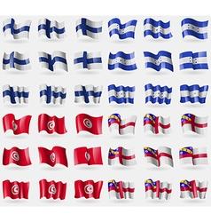 Finland honduras tunisia herm set of 36 flags of vector