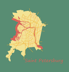 Flat color map of the centre of st petersburg vector