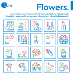 flowers symbols color linear icon set vector image