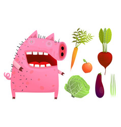fun pig eating smart vegetables isolated vector image