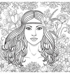 Girl hippie outline vector