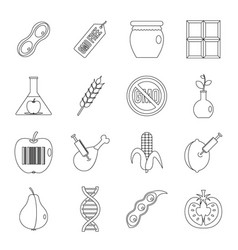 gmo icons set food outline style vector image