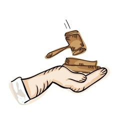 Hand holding law hammer vector