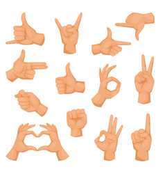 Hands showing deaf-mute different gestures vector