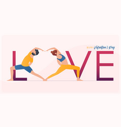 happy valentines day banner with couple yoga poses vector image