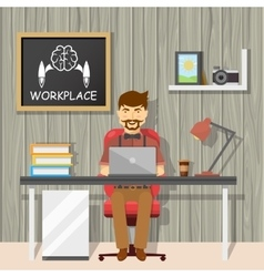 Hipster at workplace design vector