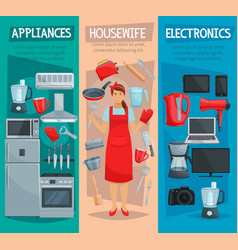 housewife home appliances and kitchenware banner vector image