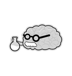 Human braing holding chemistry flask vector