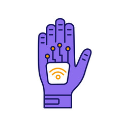 Human microchip implant in hand color icon vector