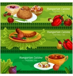 Hungarian cuisine meat dishes banner set vector