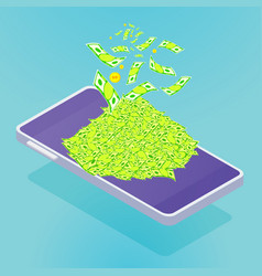 isometric smartphone with money fly vector image