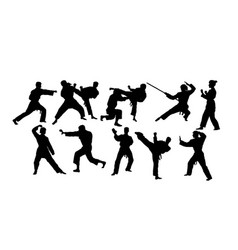 karate activity sport silhouettes vector image