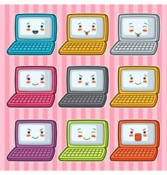 Kawaii doodle laptops set of gadgets vector